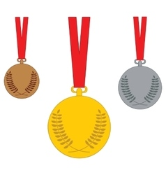 Gold medal Silver medal Bronze medal Set of vector image