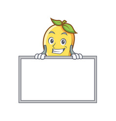Grinning mango character cartoon mascot with board vector