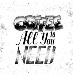 grunge typography coffee menu design lettering vector image