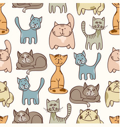 Hand drawn cute cats seamless pattern - pets vector