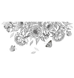 Hand drawn peony flowers and flying butterflies vector