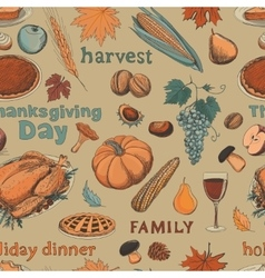 Hand drawn seamless pattern thanksgiving vector