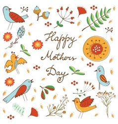 Happy Mothers Day card with flowers and birds vector