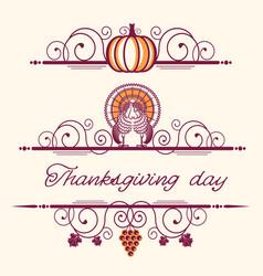 happy thanksgiving decorative vignettes vector image