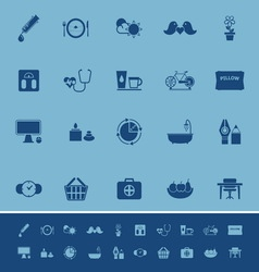 Health behavior color icons on blue background vector image