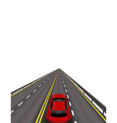 high-speed highway red cars on the road in vector image