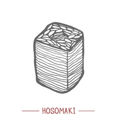 hosomaki in hand drawn style vector image