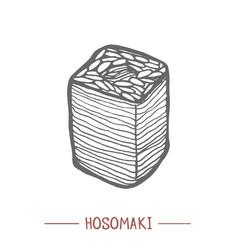 hosomaki in hand drawn style vector image