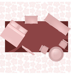 hotel room flat interior in red colored vector image