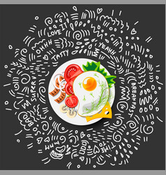 icon fried eggs for breakfast icon healthy vector image