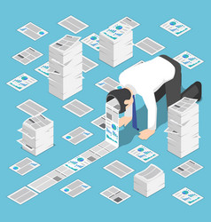 isometric a lot of document come out from vector image
