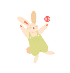 joyful rabbit jumping holding lollipop flat vector image