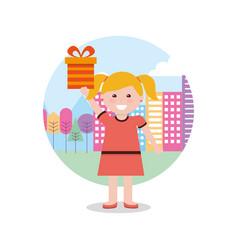 Kids gift box image vector