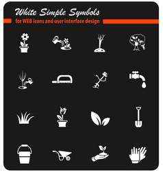 Landscape design white icon set vector