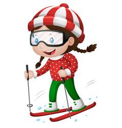 Little girl playing ski vector