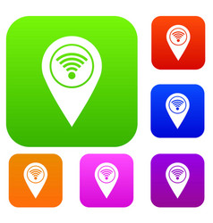 map pin pointer with wi fi symbol set color vector image