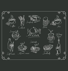 Menu with sketches different dishes vector