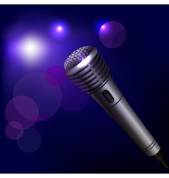 Microphone emblem on dark background vector image