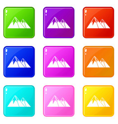 Mountains with snow icons 9 set vector
