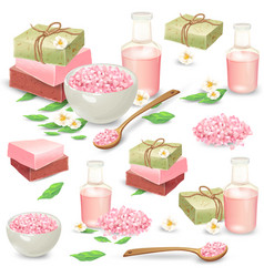 Natural handmade cosmetics for spa set vector