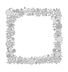 New year hand drawn square frame in zentangle vector
