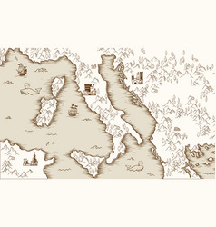 Old map of italy medieval cartography vector