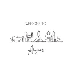 One continuous line drawing algiers city vector