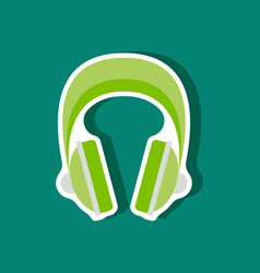Paper sticker technology gadget headphones vector