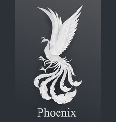 phoenix paper cut style on black background vector image