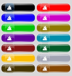 Poo icon sign Set from fourteen multi-colored vector