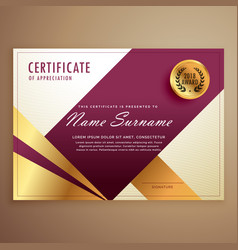 Premium certificate design template with modern vector