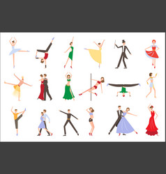 Professional dancers performing different styles vector