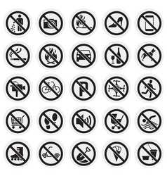 prohibition signs set on circles background for vector image