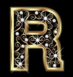 R gold letter with swirly ornaments vector image