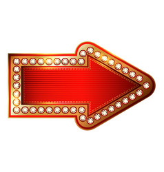 Red and gold arrow with diamonds isolated on vector