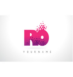 ro r o letter logo with pink purple color and vector image