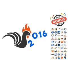 Rooster Banish 2016 Year Icon With 2017 Year Bonus vector