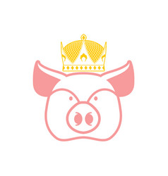royal pork pig in crown sign for meat production vector image