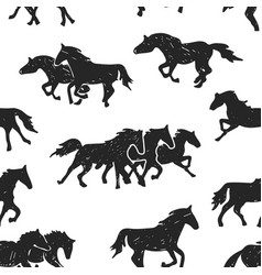 running horses drawing seamless background vector image