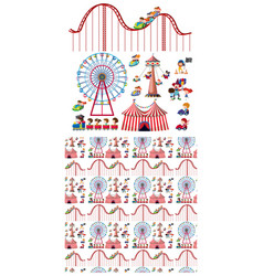 seamless background design with kids and circus vector image