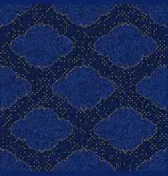 Seamless texture blue denim with printed gold vector