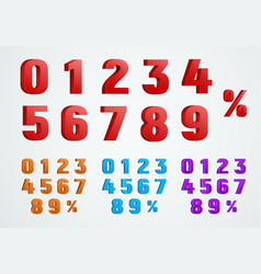set 3d numbers from 0 to 9 and a percentage vector image