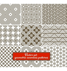 Set 9 geometric seamless patterns vector