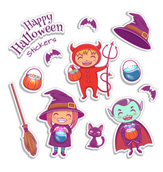 set cute stickers includes witch vampire vector image