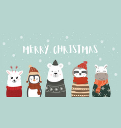 set cute winter smiling animals with snowflakes vector image