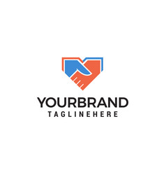 shake hand logo design concept template vector image