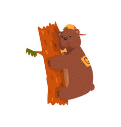Smiling wild bear hugging tree trunk cartoon vector