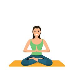 smiling woman sits lotus position involved sport vector image