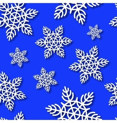 Snowflakes Seamless Blue Background vector image