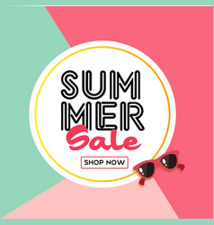 summer sale shop now sunglasses circle frame color vector image